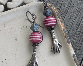 Primitive Hand Earrings - Oxidized Bronze - Oxidized Copper Wire Wrapped Earrings, hand-forged earwires, rustic earrings, primitive earrings