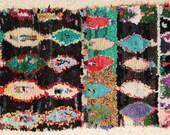 FREE SHIPPING WORLDWIDE L24022 vintage boucherouite rug, moroccan rugs , rag rug, berber tribal art, morocco carpets, wall art