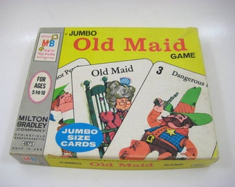 Vintage 1968 Old Maid Jumbo Card Game - Milton Bradley Giant Cards, Complete Set, 19 Pairs in Original Box, Astro Arthur, Baton Betty