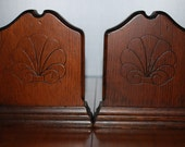 Vintage Pair of Solid Wood Bookends - Embossed - Woodland - Rustic - Farmhouse