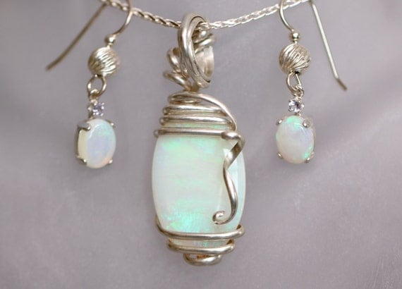 Australian Opal Earrings and Pendant Set