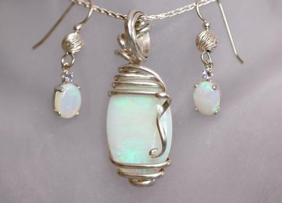 Australian Opal Earrings and Pendant Set