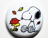 Leaves, Snoopy and Woodstock - 1 inch Button, Pinback or Magnet