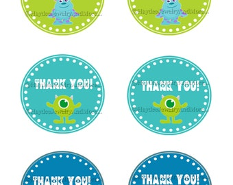 Monster inc Thank You Tags- Favor Tags- Birthday- Baby Shower-Instant Download