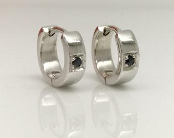 Men's hoop earrings, deep space black sapphire hoop earrings, sterling silver hoop earrings, black sapphire gemstone hoop earrings, E151 SW