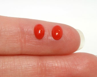 Natural Red Coral 6 x 4 Matched Pair Cabochons