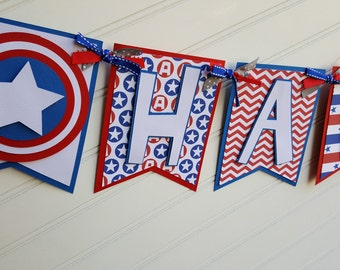 Captain America Birthday banner, Avengers banner, superhero banner.  Super Hero Decorations.  Avengers Decoration.  Superhero Party.