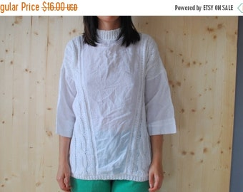 SALE White Cotton Knitted Blouse cable knit top vINTAGE 80's womens blouse