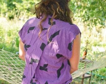 SALE Lilac Cotton Printed Sleeveless Shirt Vintage 80's