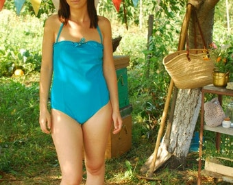 SALE Turqoise One Piece Swimsuit VINTAGE 90S strapless swimsuit