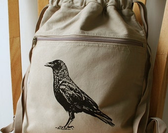 Crow Canvas Screen Printed Backpack Gym Bag Laptop Bag