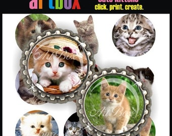 ON SALE Cute Kittens Bottle Cap Images - 4x6 Digital JPEG BottleCap Collage Sheet - 1 Inch Circles for Pendants, Hair Bows, Badge Reels, Mag