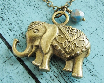 elephant necklace, boho jewelry, graduation gift good luck gift, long necklace, friendship gift, friend gift moving away gift, lucky jewelry
