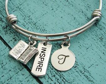 personalized teacher gift, teacher retirement gift, teacher appreciation gift, graduation gift, teacher jewelry, gift for teacher, inspire