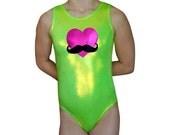 Gymnastics Leotard Girls Mystique HEART MUSTACHE Leotards Gymnast Leo cxs cs cm cl axs as am al  Sizes Todder - Adult Movember