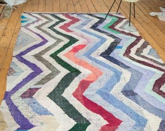 6x9.5 Vintage Rag Rug Carpet
