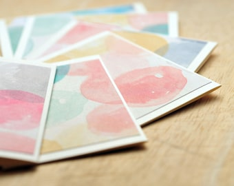 Watercolor Circle Mini Cards // Set of 6 // Gift Card Envelope // Blank Cards // Enclosure Card // Love Note