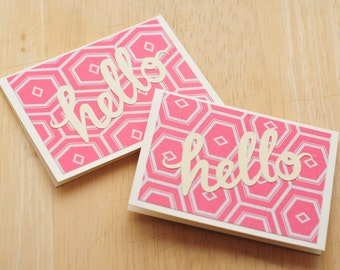 SALE-Hello Mini Cards // Set of 5 // Blank Cards // Enclosure Cards // Love Note // Gift Card Envelope // Advice Card // Journaling Card