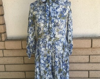 50's Blue Floral Fit and Flare Dress w/Ascot Neck Sheer Button Up Dress Size Small
