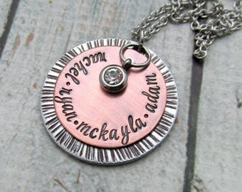 Personalized Mom Necklace - Necklace Necklace, Mixed Metal with Cold Connections, Personalized Jewelry for Mom, Hand Stamped Jewelry for Mom