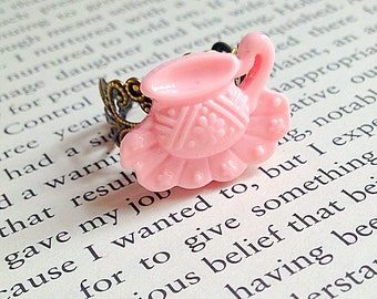 Teacup Ring - Alice in Wonderland, Time for Tea, Tea Party, Girly, Pastel Pink, Kawaii