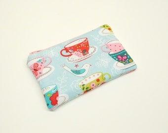 change purse coin purse zipper pouch zipper bag teacup tea time change purse