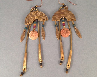 Vintage Antique Brass and Copper Dangle Earrings 3.75 Inches Long 1 & 1/8 Inches Wide, Hippie Earrings