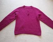 SALE 30% off Fuschia wool v neck hand knit sweater S