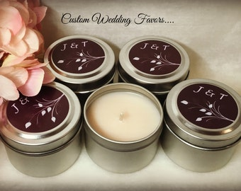 Bridal Favor Candles, Bridal Shower, Wedding Favor, Custom, 2 ounce Metal Tin