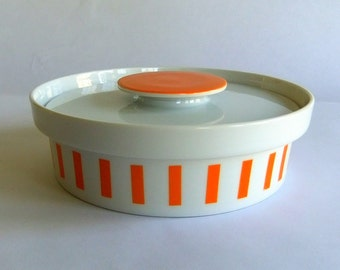 Vintage LaGardo Tackett Schmid Orange White Stripe Lidded Casserole, Serving or Candy Dish - Everyone Loves Ice Cream n Candy, Mid Century