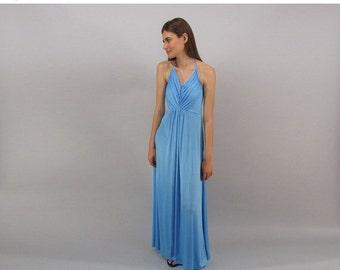 On Sale - Vintage 70s Halter Disco Dress, Maxi Dress, Liquid Jersey Halter Dress, Boho Dress Δ size: sm
