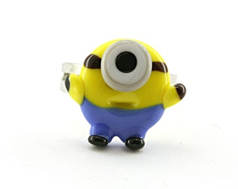 Glass lampwork Despicable me minion  adjustable silver ring