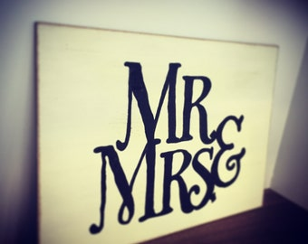 Hand-painted Wooden Mr & Mrs Sign,  A4 size, hand painted, choose colour/colours, distressed, rustic