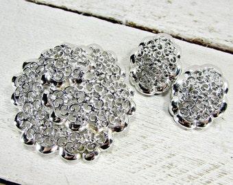 Vintage Silver Filigree Jewelry Set, Filigree Flower Brooch Earrings, Clip-On Earrings, 1970s Vintage Jewelry, Gift for Her Mom Grandma