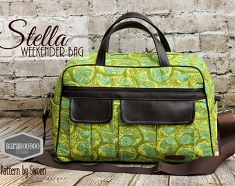 Swoon Stella Weekender Bag in Tula Pink Grandstand green Faux leather accents handmade  tote traveler traveller carry on