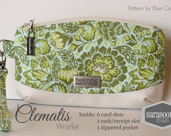 Clematis Clutch with 6 card slots and interior zippered pocket, pouch, wristlet,  Bats in the Belfry Tula Pink Wrist strap