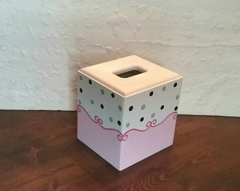 Pink, White and Black Scrolly Tissue Box - Scrolly Tissue Holder - Polka Dots - Girl Tissue Cover - Bathroom Tissue Cover - Bathroom Decor