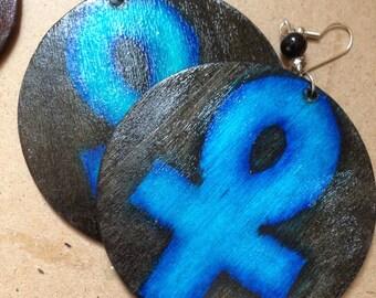 Blue Ankh Earrings