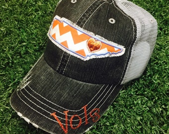 University of Tennessee UT Volunteers State Baseball Bling Ladies Womens Trucker Hat