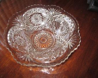 "Antique eapg  1910 Imperial Glass  ""Hobstar"" AKA Roanoke Star BIG BOWL with  Ruffled Rim,charming glass,tabletop,tableware,Shabby Chic"