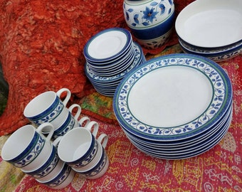 Pfaltzgraff Orleans China Eight Place Settings Plus Serving Dinnerware 42 Pieces Blue and White Tuscany Pattern FIND by AntiquesandVaria