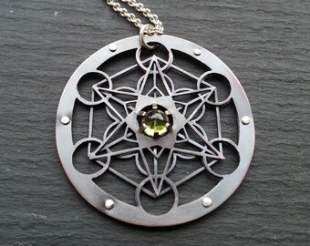 Large Metatron's Cube Pendant with Green Peridot - double layer oxidised copper, sterling silver - Handcrafted Sacred Geometry Jewellery