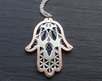 Hamsa Protection Pendant - sterling silver and oxidised copper - Handcrafted Sacred Geometry Jewellery