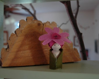 Purple coneflower peg doll