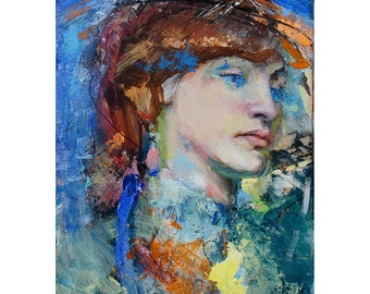 Original Figure Painting oil on board - BlueMorning - 9 x 12 inches