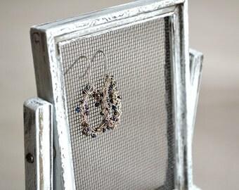 White Gray Silver Vintage Tabletop Photo Frame Earring Organizer Holder