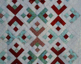 "Snowflakes:  54"" X 64"" Quilt, Throw, Wall Hanging, Christmas gift, wedding gift, READY TO SHIP"