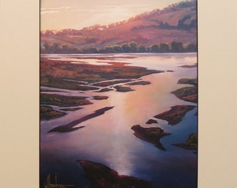 Hawkins Art Hand made plein air artist Impressionist sunset reflections matted Giclee print on archival 100# heavy stock Gift Sale