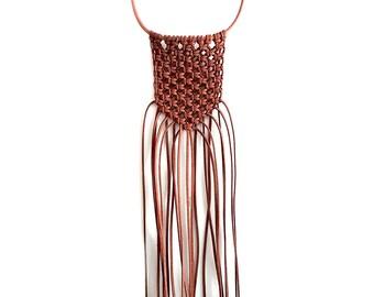 Macrame Leather Bib Necklace, Leather Necklace, Leather Knot Statement Necklace, Bib Necklace
