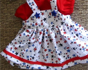 """15""""  Baby Doll Clothes -Red, White & Blue Jumper, Blouse, Headband, Booties Set  Fits Bitty Baby, Bitty Twins, and Other 15"""" Baby Dolls"""